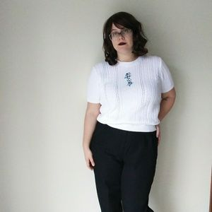 90's Short Sleeve Grandma Sweater - L